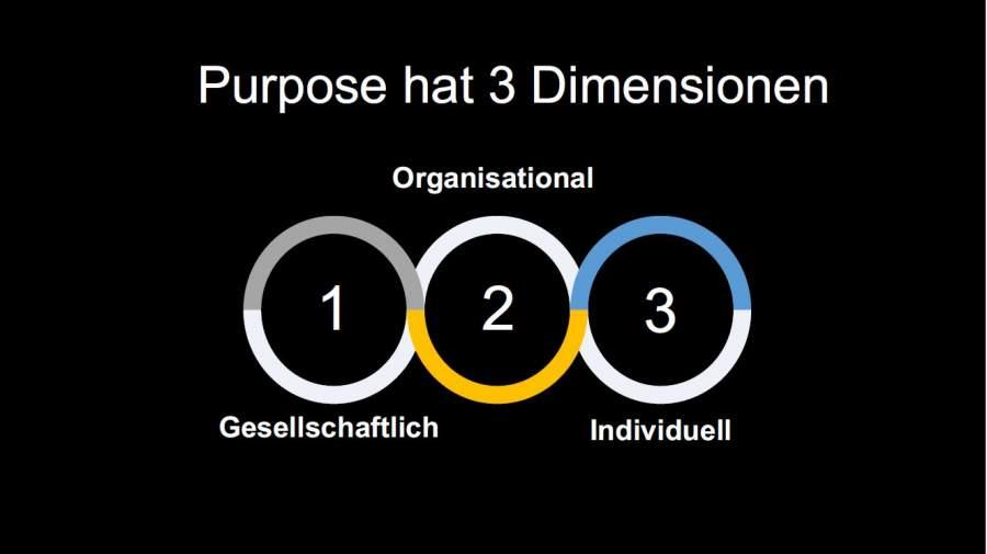 3 Dimensionen von Purpose: Gesellschaftlich, Organisational, Individuell